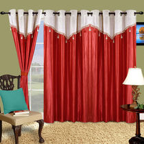 Cortina Plain Drape 7Ft Curtain,  maroon