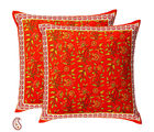 Floral Pigment Print Pure Cotton Cushion Cover Set, rust