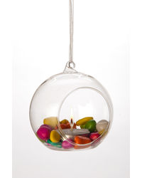 Importwala Hanging Glass Ball Small, transparent