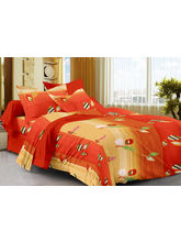 Story@ Home Red 100% Cotton Spark 1 Single Bedsheet with 1 Pillow Cover-SP1218, red