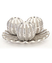 Importwala Silver Metallic Candle Holder With Plate, Silver