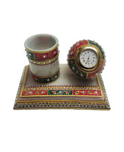 Decorative Pen Stand with watch - eCraftIndia, multicolor