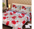 La Elite pure Thick Cotton Cute Red Roses Print Double Bed Sheet, beige