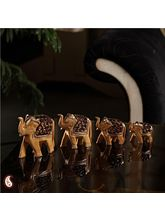 Set Of Four Carved Wooden Elephants (Brown)