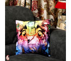 Colourful Velvet Floral Design Ganesh Cushion Cover (Multicolor)