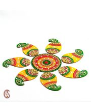 Handmade Wood And Clay Floral Floor Art { Rangoli } (Multicolor)