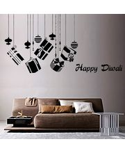 Creative Width Happy Diwali Wall Decal, Multicolor, Small
