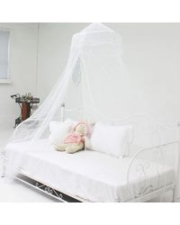 SLR Nets Euro Style mosquito net front open dome haniging-new style,  white