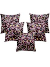 Story At Home Cushion Cover Set Of 5, Purple