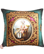 Digital Print Poly Velvet Cushion Covers Of Raja Of Rajastani, Teal Green