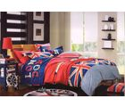 Valtellina 100% Cotton Printed Design Double Bed Sheet With 2 Pillow Covers, red and blue