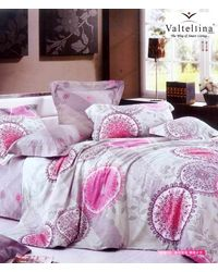 Valtellina Floral Circular Print Two Single Bedsheets with Two Pillow Covers,  grey