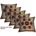 Designer Weaving Cushion Covers Set Of 5 (Multicolor)