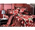Valtellina Pink Tulip 3D Print Double Bed Sheet, brown