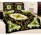 Little India Floral Print Double Bedsheet With Pillow Covers 203, black