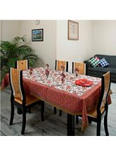 Bright Red And Blue Floral Gold Print Table Cover Set (Multicolor)