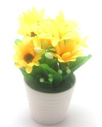 Importwala Artificial Flower In Decorative Ceramic Pot,  yellow