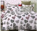 Valtellina Love By Heart Fitted Double Bed Sheet With 2 Pillow Covers, white