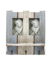 Aapno Rajasthan Wooden Blue Photo Frame With Key Hooks