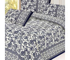 Hand Print Floral Design Pure Cotton Double bed sheet set, multicolor