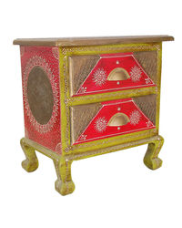 Villcart Wooden Table with Two Drawer Cabinet, multicolor