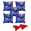 meSleep Set of 5 Merry Christmas Town Digitally Printed Cushion Cover (16x16) -With 2 Pcs,  blue