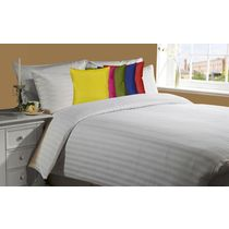 meSleep White 230Tc Satin Stripe Bed Sheet with 5pc Multi cushion covers., multicolor