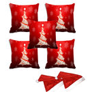 meSleep Set of 5 Christmas Tree Digitally Printed Cushion Cover (16x16) -With 2 Pcs,  red