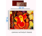meSleep Canvas painting without frame - Ganesha and Silver plated Rs. 1000 replica note, multicolor