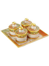 Marvel In Marble -Tray With Containers-041(Multicolor)