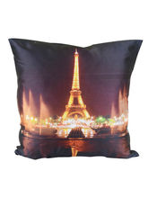 Me Sleep Effel Tower With Light Cushion Covers Digitally Printed-7 Wonder Of The World Series - Set Of 2, Multicolor