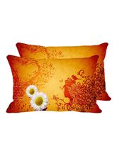 MeSleep White Flowers Set Of 2 Pc Digitally Printed Pillow Cover -Size(12x18), Orange