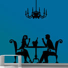 Creative Width Romantic Dinner Wall Decal, multicolor, medium