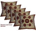 Designer Weaving Cushion Covers Set Of 5 (Maroon)