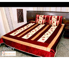 Double bed Quilt - Poly Velvet & Dupion Silk - poppy design, multicolor