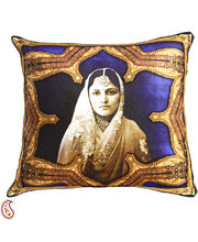 Rajastani Queen Digital Print Poly Velvet Cushion Covers, Multicolor