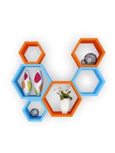 DecorNation Wall Shelf Rack Set Of 6 Hexagon Shape Hanging Wall Shelves For Home/Office