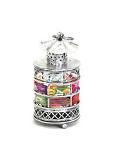 Rustic Silver Tone Gun Metal Tea Light Holder With Color Stones, Multicolor