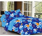 Welhouse India Floral Double Bed Sheet With 2 Pillow Covers, blue