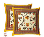Sunshine Yellow floral Pigment Print Cotton Cushion Cover Set, yellow