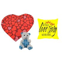meSleep Red & Yellow Valentine Heart Shape Cushion, Teddy and Cushion,  red