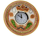 Marvel in Marble - Gold Embossed round Alarm clock with Kundan work (Multicolor)