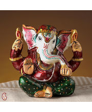 High Quality Ceramic Lord Ganesh Painted Figurine (Multicolor)