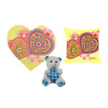 meSleep Yellow Valentine Heart Shape Cushion, Teddy and Cushion,  yellow