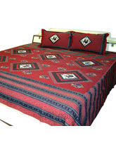 Ethnic Jaipuri Print Cotton Double Bed Sheet 176 (Red)