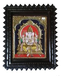 "Tanjore painting-Ganesh 15"" x 12"", multicolor"