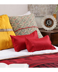 Rang Desi Red Silk Solid Cushion Cover,  red