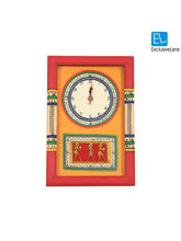 ExclusiveLane Warli Handpainted & Dhokra work clock 15* 10 Inch Yellow, multicolor