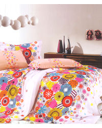 Valtellina Funky Circle Print 2  Single Bed Sheets With 2 Pillow Covers,  orange