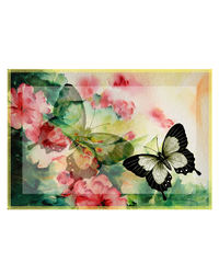 Leaf Designs Light Yellow Butterfly Table Mats - Set of 6, multicolor